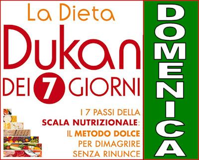 Schema della dieta Dukan dei sette giorni per la domenica