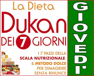 Schema della dieta Dukan dei sette giorni per il giovedì