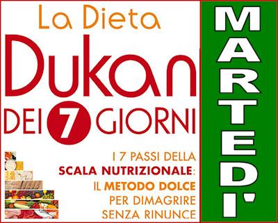 Schema della dieta Dukan dei sette giorni per il martedì