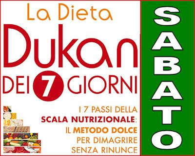 Schema della dieta Dukan dei sette giorni per il sabato